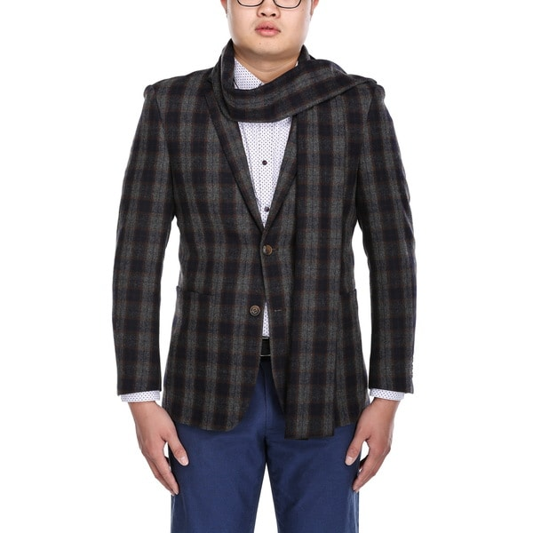 Beverly Hills Polo Men's Grey Wool-blend Slim-fit Plaid Blazer and Matching Scarf
