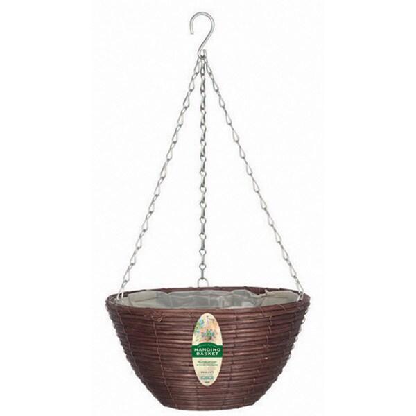 """Gardman R338 14"""" Brown Rattan Hanging Basket"""