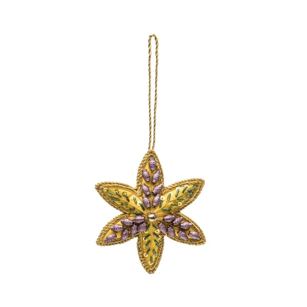 Embellished Star Ornament - Yellow