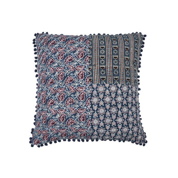 Square Patchwork Block Print Pillow - Blue