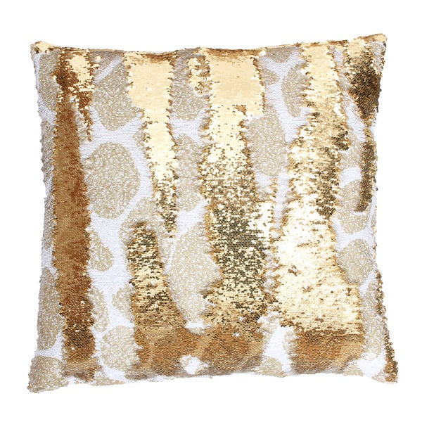Thro by Marlo Lorenz Georgina Giraffe Gold Polyester Reversible Sequin Feather-filled Throw Pillow