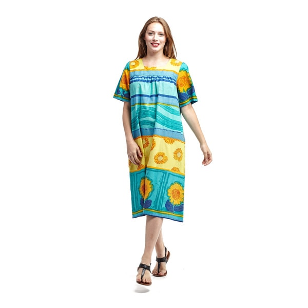La Cera Women's Blue Cotton Short-sleeve Square-neck Lounger Dress