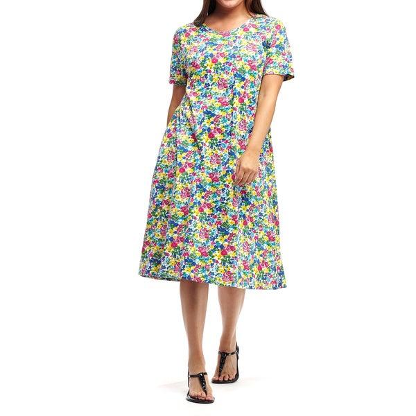 La Cera Women's Multicolor Cotton Plus Size Short-sleeve A-line Knit Dress