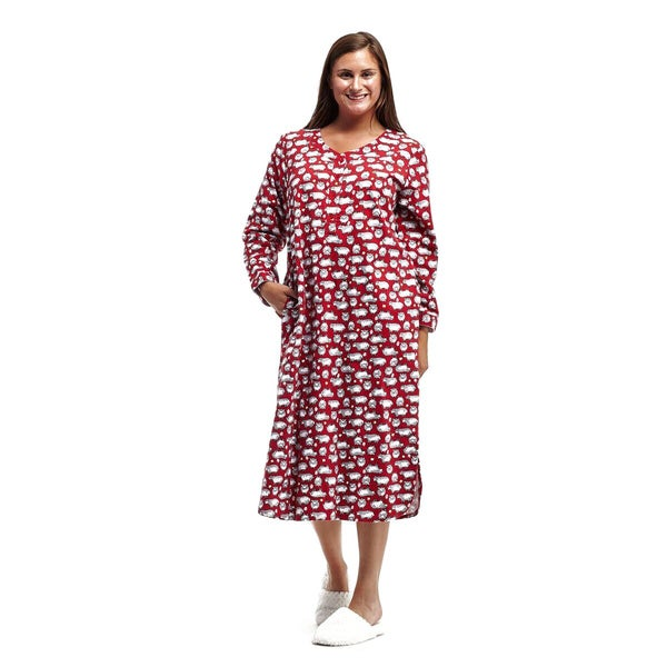 La Cera Women's Sheep-printed Plus-size Nightshirt
