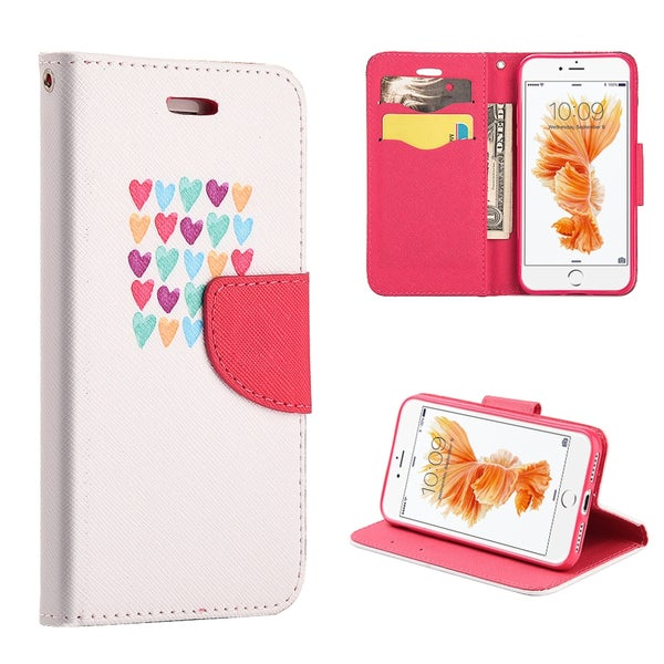 Insten White/Red Love Me Always Leather Case Cover Lanyard with Stand/Wallet Flap Pouch For Apple iPhone 7 Plus