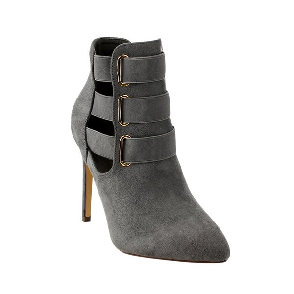 LILIANA GF14 Women's Grey Pointed Toe Elastic Straps Cut Out Stiletto Ankle Booties