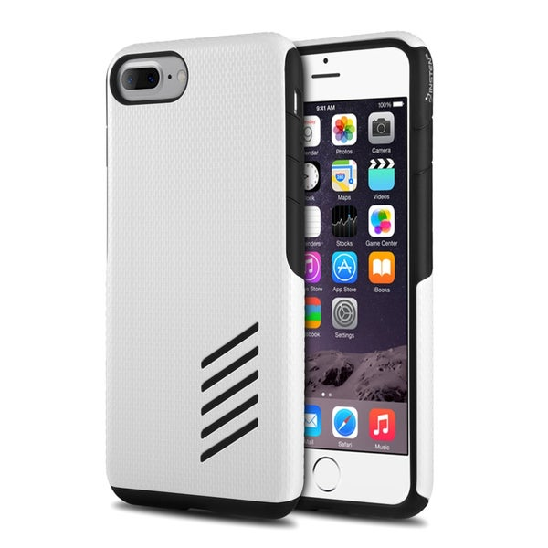 Insten Black/White Hard PC/ Silicone Dual Layer Hybrid Rubberized Matte Case Cover For Apple iPhone 7 Plus