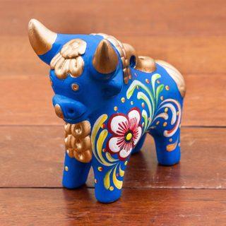 Handmade Ceramic 'Blue Pucara Bull' Figurine (Peru)