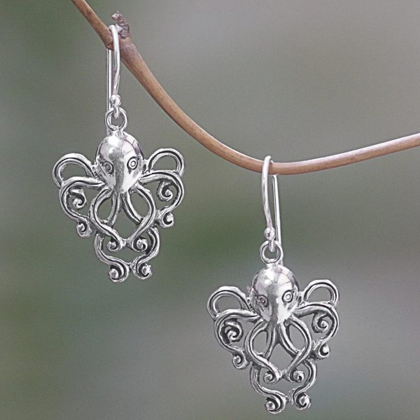 Handcrafted Sterling Silver 'Octopus of the Deep' Earrings (Indonesia)