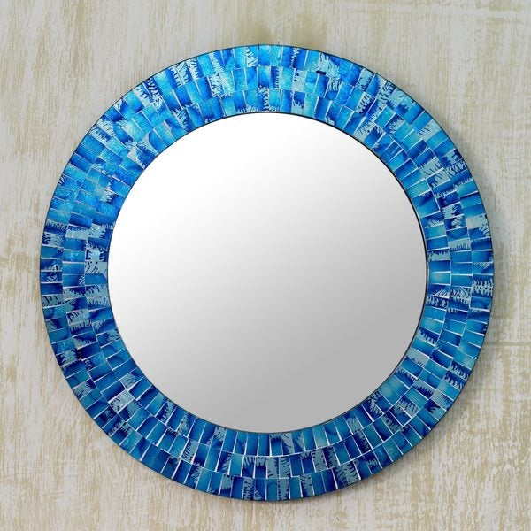 Handcrafted Glass Mosaic 'Tropical Fusion' Wall Mirror (India)