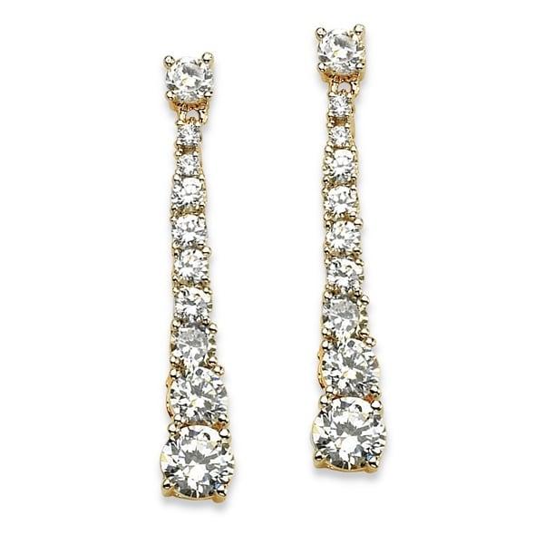 PalmBeach 14k Yellow Gold-plated Cubic Zirconia Linear Cascade Drop Earrings