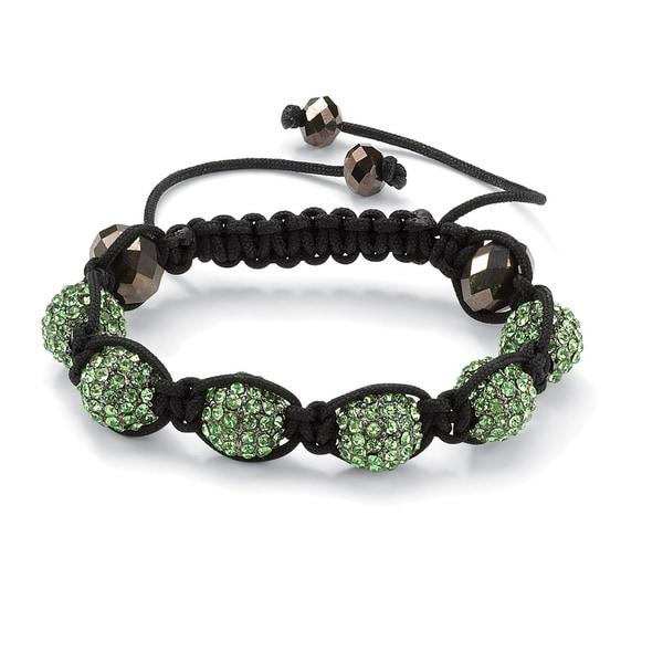 Green Crystal Beaded Macrame Adjustable Bracelet 21862930
