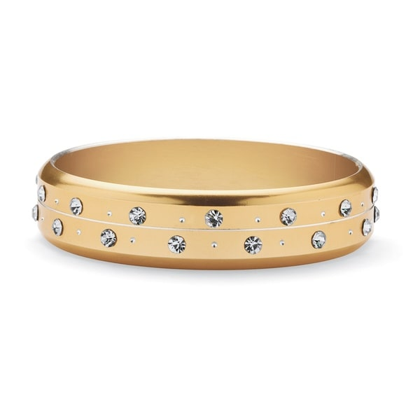 PalmBeach Gold over Steel Crystal Bangle Bracelet
