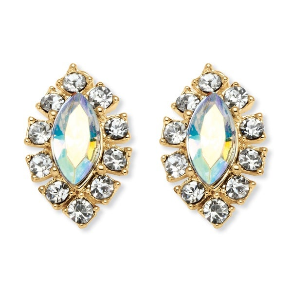 PalmBeach Yellow Gold-plated Marquise-cut Aurora Borealis and Clear Crystal Earrings
