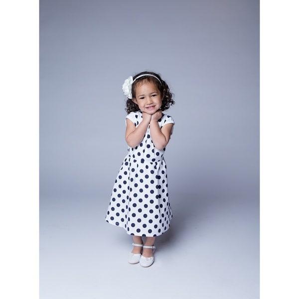 White and Navy Polka Dot Dress