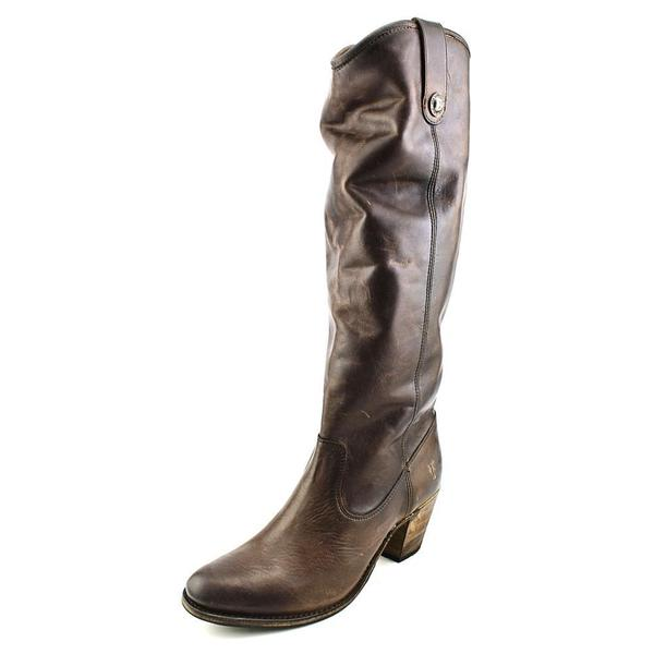 Frye Women's 'Jackie Button' Brown Leather Mid-calf Cowboy-style Boots