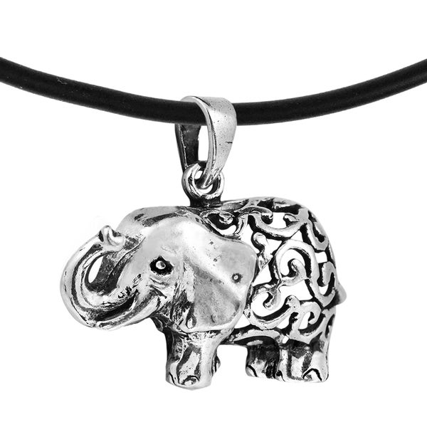 Sterling Silver Tribal Ethnic Elephant Black Rubber Necklace (Thailand)