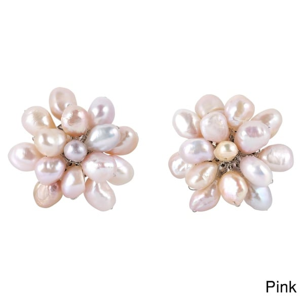 Large Pearl Floral Cluster Stylish Clip On Statement Earrings (Thailand)
