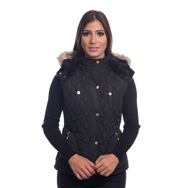 Ladies Quilted Fur Lined Zip Up Detachable Vest With Suede Piping & Pockets By Special One