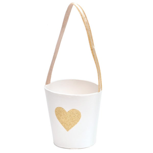 Gold Heart Flower Girl Basket