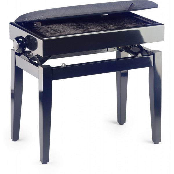 Stagg High-gloss Black Velvet Fireproof Top Adjustable Piano Bench With Storage