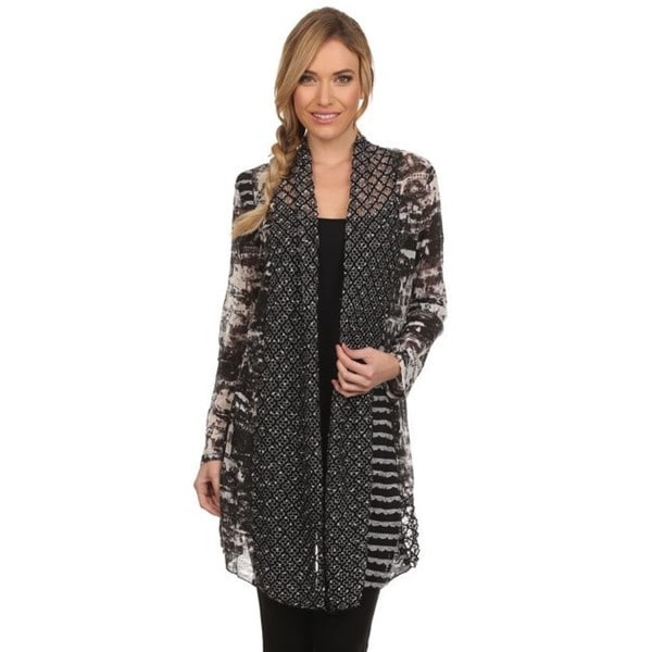 High Secret Women's Black-grey Multi-fabric Open-front Cardigan