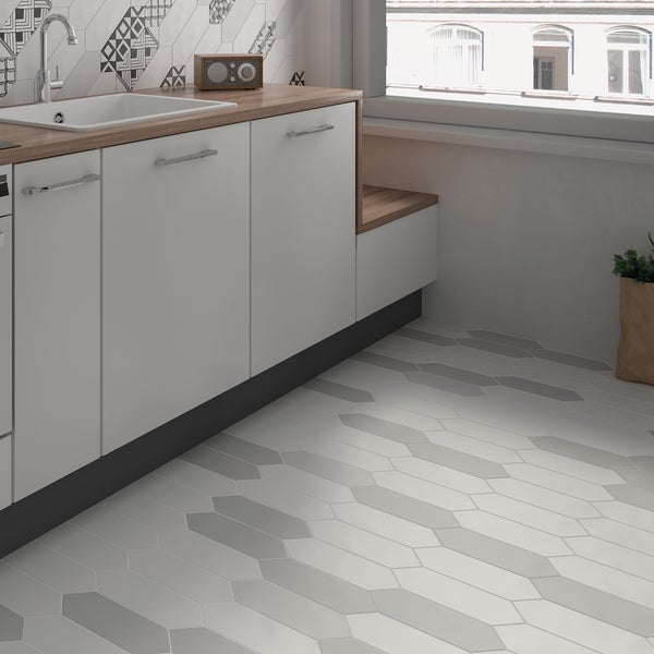 SomerTile 4x11.75-inch Cometa White Porcelain Floor and Wall Tile (40/Case, 11.81 sqft.)