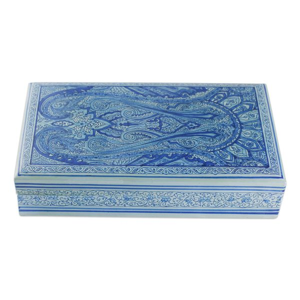 Sapphire Paisley Papier Mache Box (India)