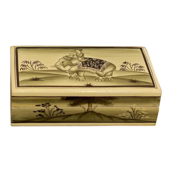 Handmade Mughal Elephant Papier Mache Box (India) 21869475