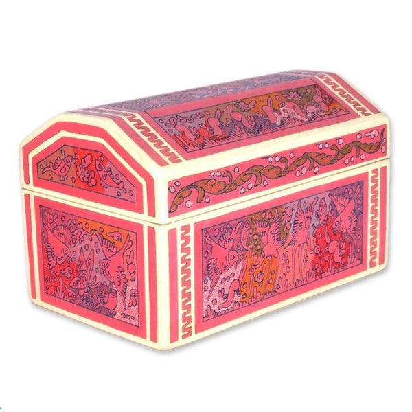 Pink Party Animals Wood Decorative Box (Mexico)