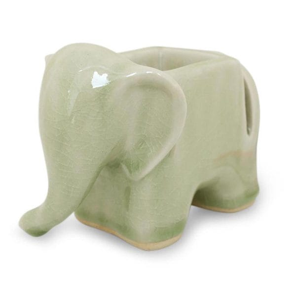 Green Elephant Celadon Ceramic Card and Clip Holder (Thailand)