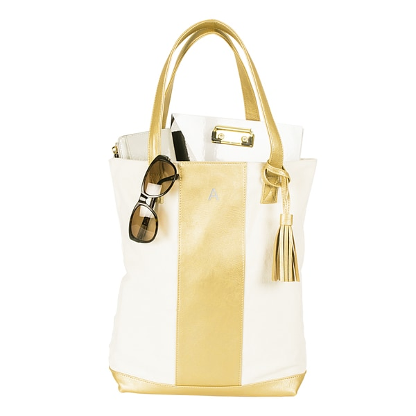 Personalized Gold Faux Leather Canvas Weekender Tote