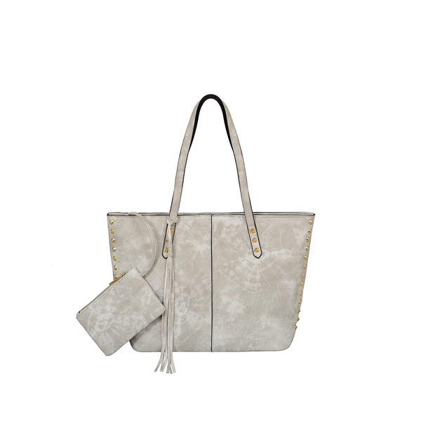Mellow World Addison Grey Faux-leather Double-handle Studded Tote Bag