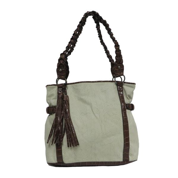 Bueno Frilled Cream Faux Leather Tote Handbag