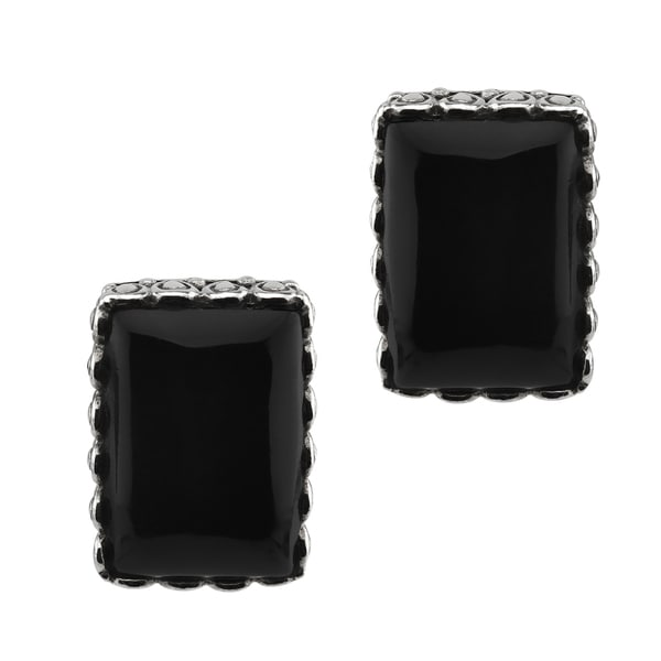 Large Black Onyx Stud Earrings