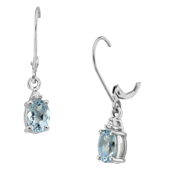 Genuine Aqua Topaz Lever Back Earrings 21882595
