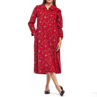 La Cera Women's Red Cotton Long-sleeved Coduroy Dress