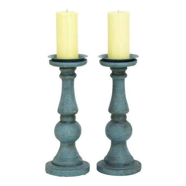 Benzara Pu Candle Holder 6 x 15 (Set of 2)
