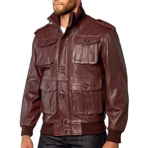 Tanner's Avenue Men's Burgundy Lambskin Leather Bomber Jacket