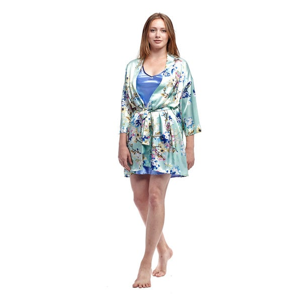 La Cera Women's Mint Satin Flower Print Wrap Robe