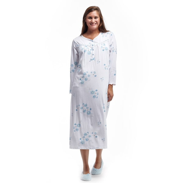 La Cera Women's White/Blue Cotton Long-sleeved Jersey Knit Nightgown