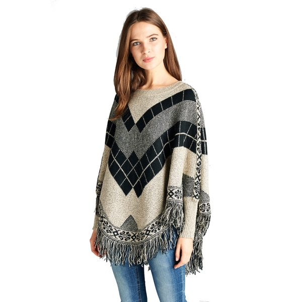 Spicy Mix Elowen Long-sleeve Fringed-hem Black/Taupe Acrylic Knit Poncho Sweater