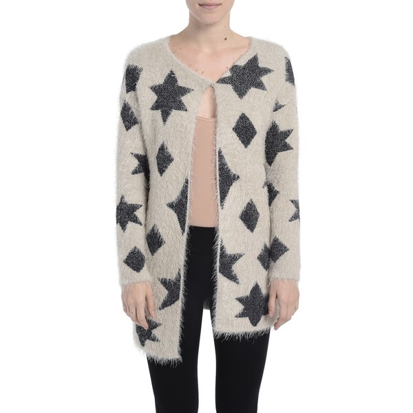 Romeo + Juliet Couture Star and Triangle Fuzzy Cardigan