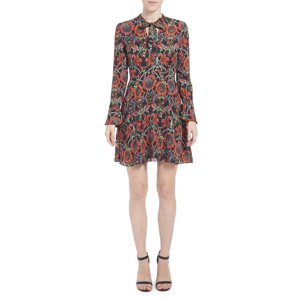 Romeo + Juliet Couture Print Dress With Neck Bow Detail