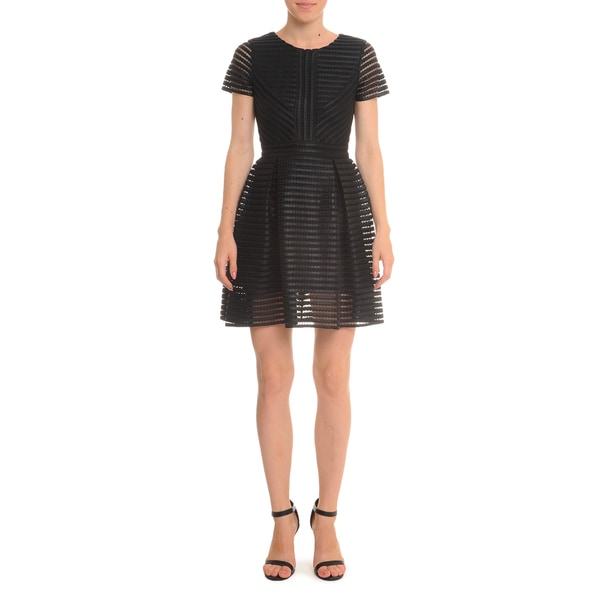Romeo + Juliet Couture Women's Black Organza Striped Short-Sleeved Dress