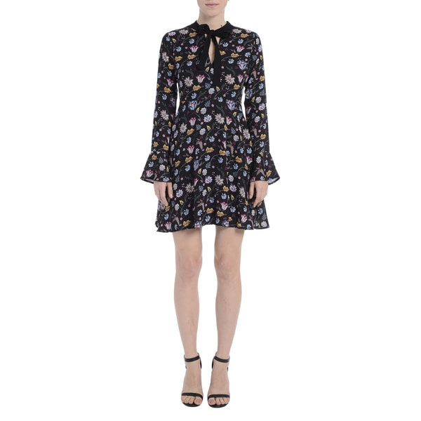 Romeo + Juliet Couture Black Polyester Floral Print Ruffled Woven Long-sleeve Mini Dress