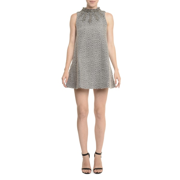 Romeo + Juliet Couture Embellished Grey Polyester/Nylon Woven Dress