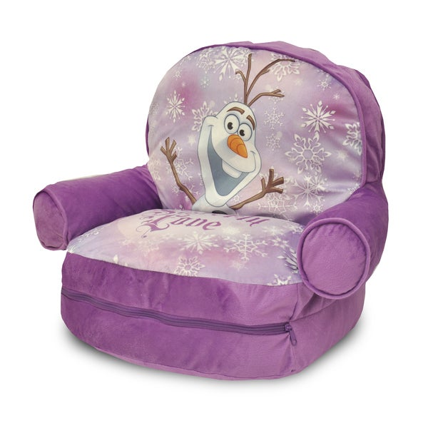 Frozen Kids' Purple Polyester Bean Bag Arm Chair with Bonus Sleeping Bag