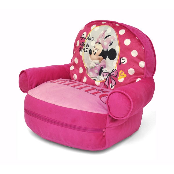 Minnie Mouse Kids' Polyester Bean Bag Arm Chair with Bonus Sleeping Bag