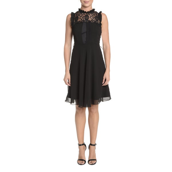 Romeo and Juliet Couture Black Polyester Sleeveless Lace Yoke Dress